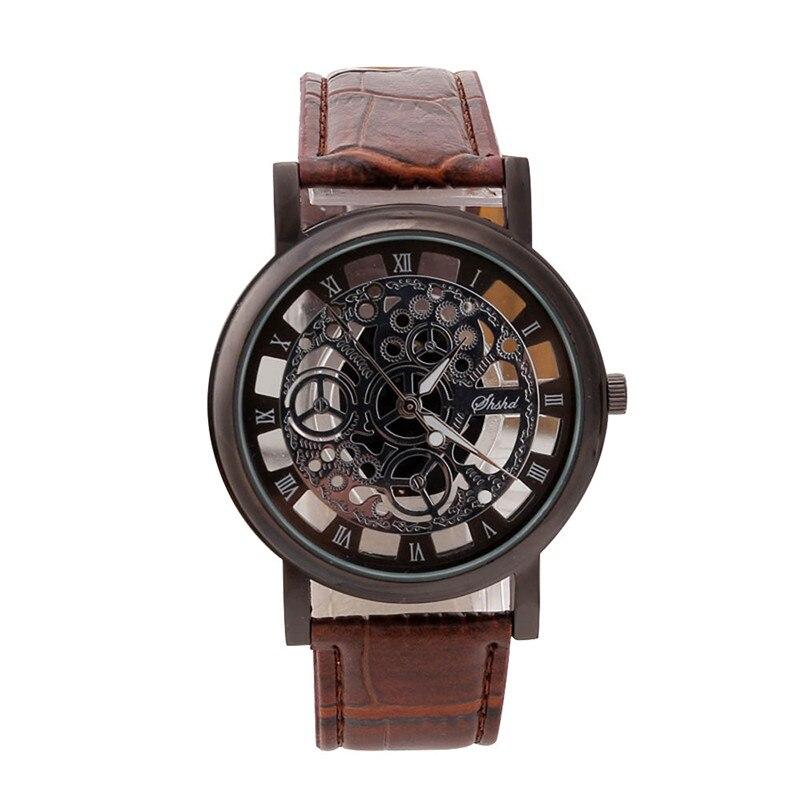 2017 Business Skeleton Watch Men Engraving Hollow Reloj Hombre Dress Quartz Wristwatch Leather Band Women Clock Relojes Z829