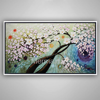 Hand painted modern home decor wall art picture Brown pink Cherry Blossom tree thick paint palette knife oil painting on canvas