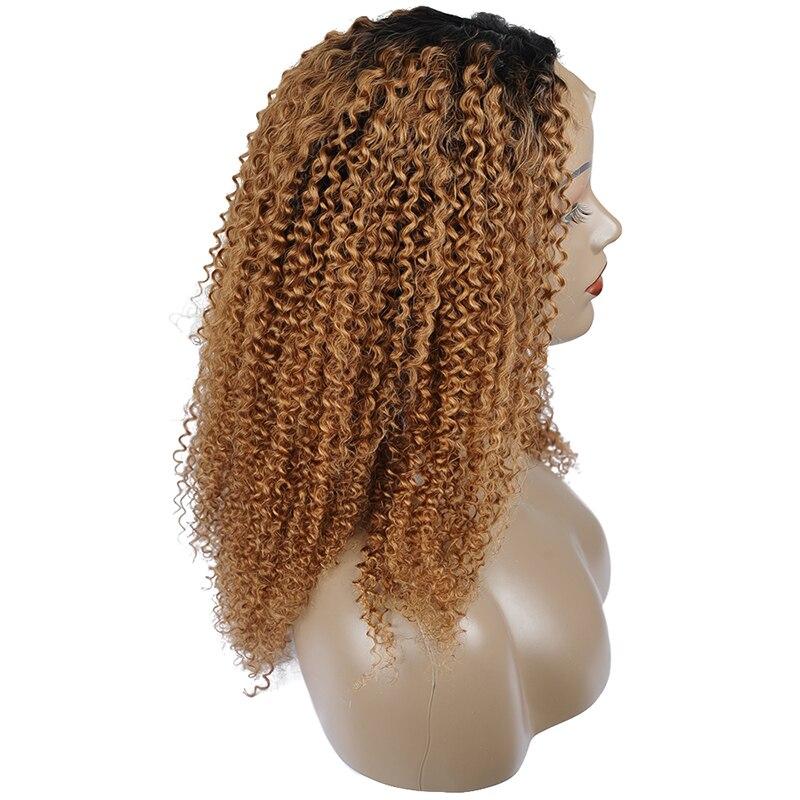 Pinshair Ombre Blonde Afro Verworrene Lockige Menschenhaar Perücken für Frauen T1B/30 Brasilianische Spitze Front Menschliches Haar Perücke nicht Remy Verschluss Perücke - 4