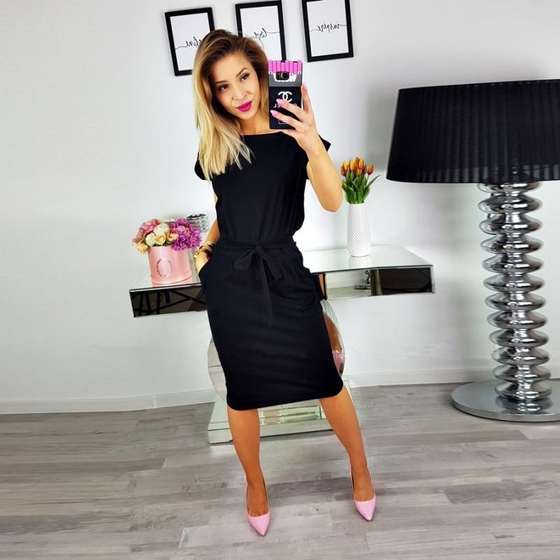19 New Summer Fashion Women Casual Short Sleeve O-Neck Straight Black Gray Blue Dress Loose Plus Size Pocket Cotton Midi Dress 8
