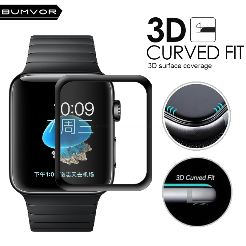 For iWatch Plating Tempered Glass For Apple Watch 38mm 42mm Series 3 2 1 Full Cover 3D Curved Black Edge Screen Protector Film