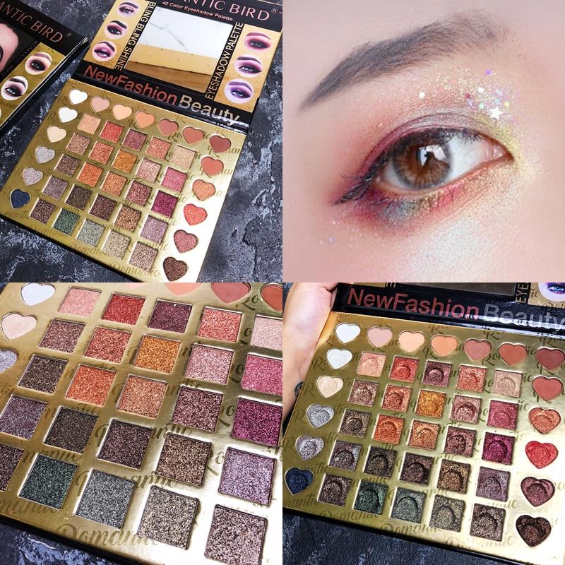 42 Colors Eyeshadow Palette Matte Glitter EyeShadow Pallete Diamond Shimmer Luminous Eye Shadow Smoky Warm Color Makeup Palete in Eye Shadow from Beauty Health