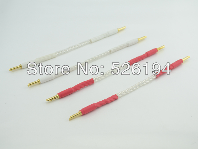 Free shipping Telfon 5N pure coppert silver plated speaker cable Jumper cables amplifier jumper wires 4pcs/lot