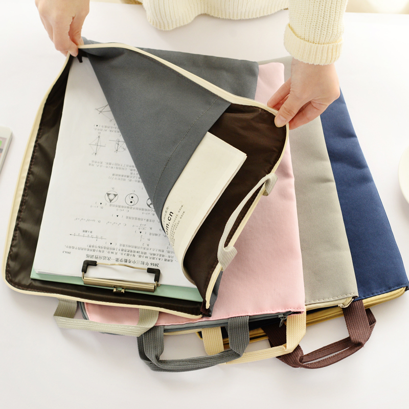 Pure Canvas File Bag Hand-held Zipper Bag For Office Archives Waterproof Organizer Ipad Can Be Placed School Supplies Gift A4