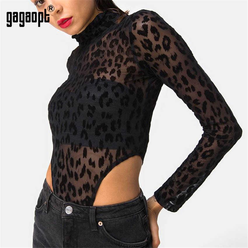 Gagaopt Leopard боди с длинным рукавом сексуальное боди женский, черный модные животных печати сетки боди комбинезон уличная