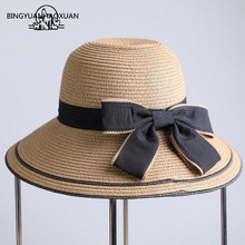 цена на BINGYUANHAOXUAN Summer Wide Brim Beach Women Sun Hat Straw Stylish Cap For Women UV Protection Black bow Straw Hats Girls Hot