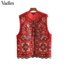 Vadim mujeres floral bordado terciopelo chaleco lentejuelas sin mangas  chaleco vintage mujer casual prendas de vestir 035509f8b20f