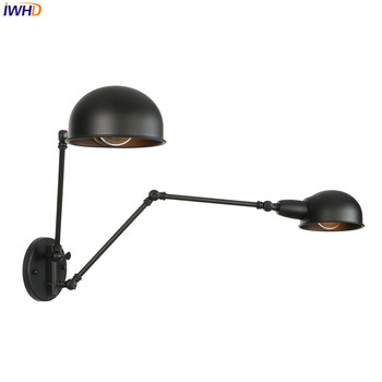 IWHD Iron Adjustable LED Wall Light 20+20cm RH Vintage Nordic Wandlamp Industrial Wall Lights For Home Applique Murale Luminaire