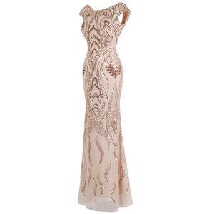 Image 3 - Angel fashions Cap Sleeve Bateau V Back Vintage Sequin Mermaid Long Evening Dress Light Coral 378