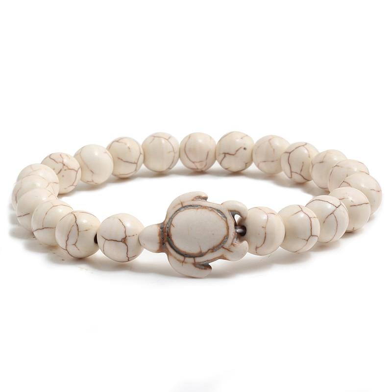 New Fashion Distance Turtle Bangle Bracelet For Women Men Charm Jewelry Black Lava Stone Health Elasticity Bracelets Couple Gift