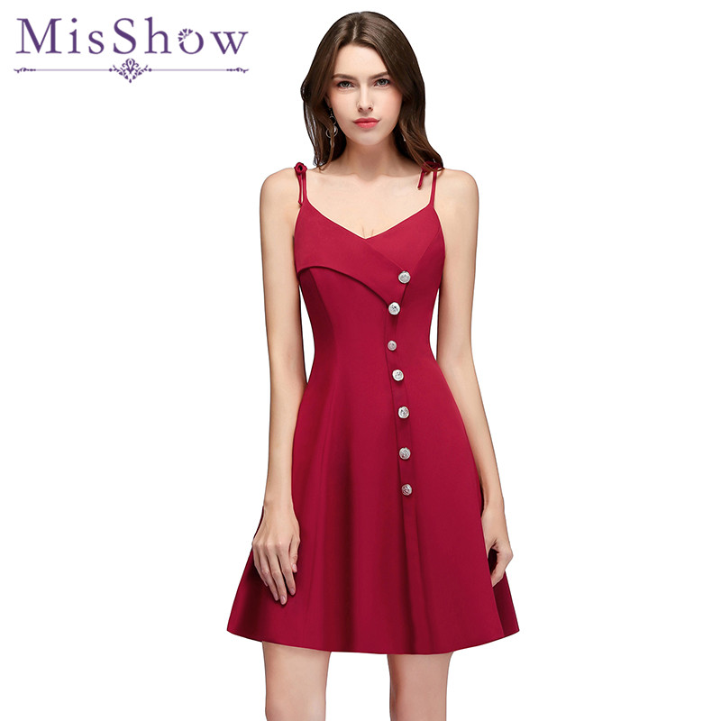 Burgundy Spaghetti Straps   Bridesmaid     Dresses   2018 New Style Elegant Button Decoration Short V Neck Wedding Guests Gown