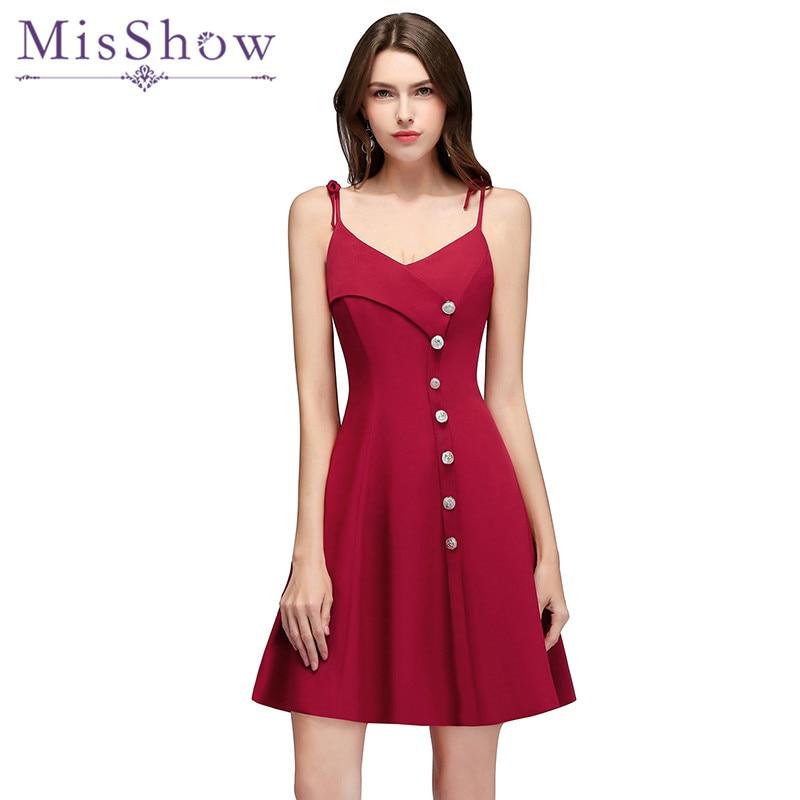 dae2275ad Vestidos de dama de honor con correas de espagueti color borgoña 2018 nuevo  estilo elegante botón ...