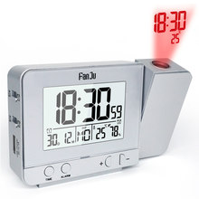 FanJu FJ3531 Projection Alarm Clock with Temperature and Time Projection/USB Charger/Indoor Temperature and Humidity Desk Clock(China)