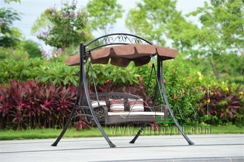 Bench Met Kussen : 2 persoon rieten patio tuin schommel stoel haning hangmat rotan