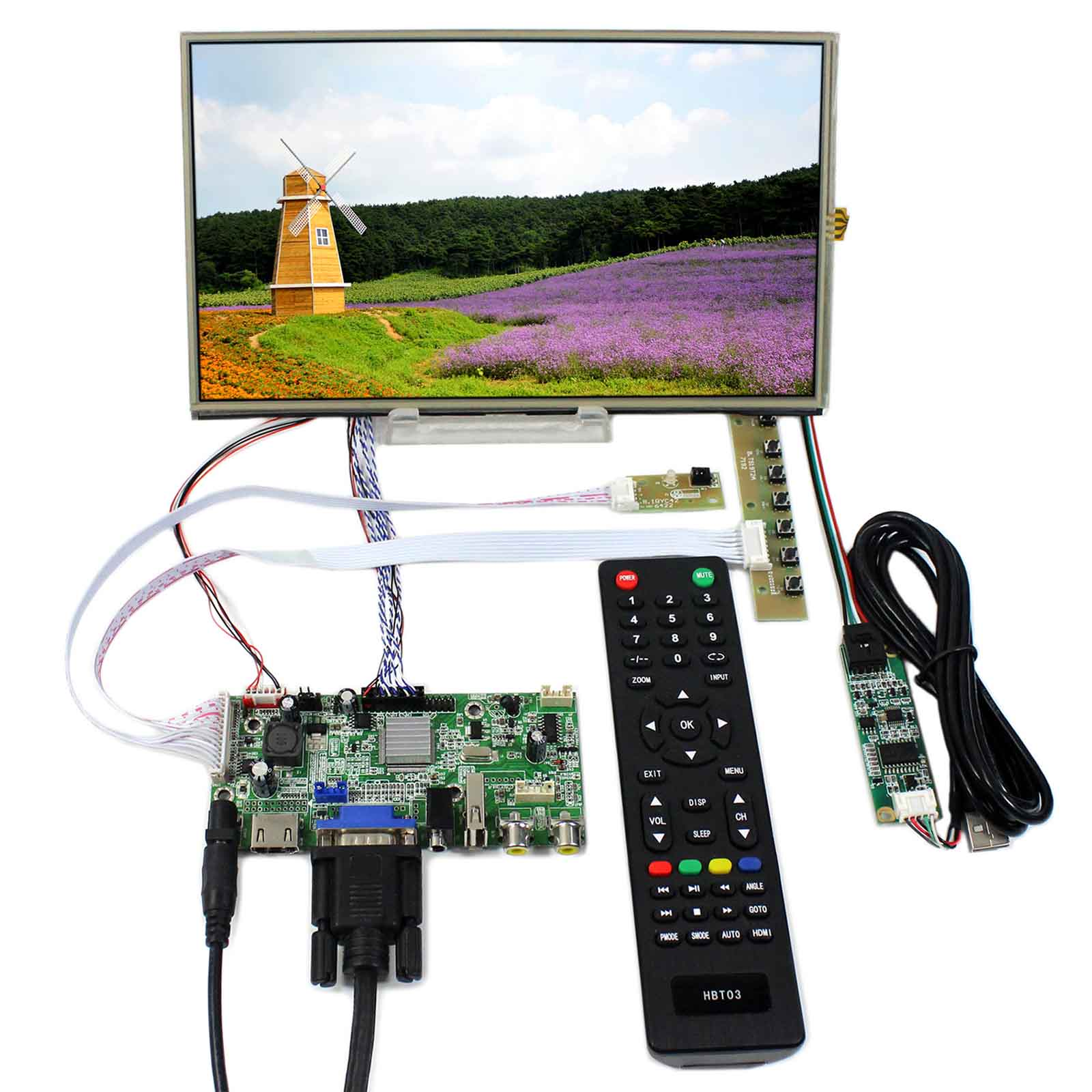 HDMI+VGA+2AV+USB+Audio LCD Controller Board With 10.1inch 1366X768 B101XAN01.3 Touch LCD Panel стоимость