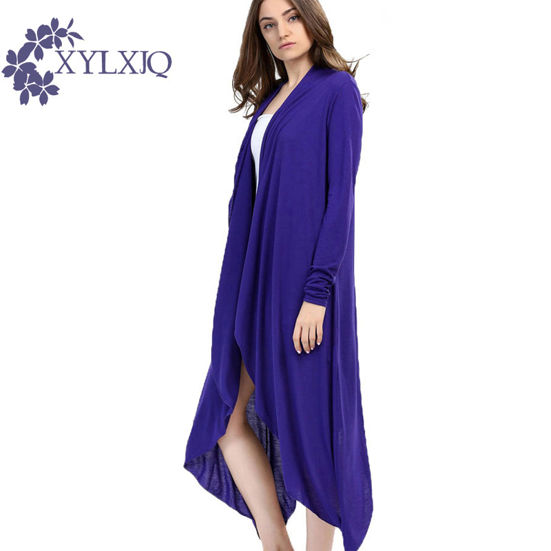 XYLXJQ 2017 Autumn Women Cardigan Long Sleeve Irregular Knitted Female Long Sweater Ladies Coat Slim Elegant Outerwear HQ064