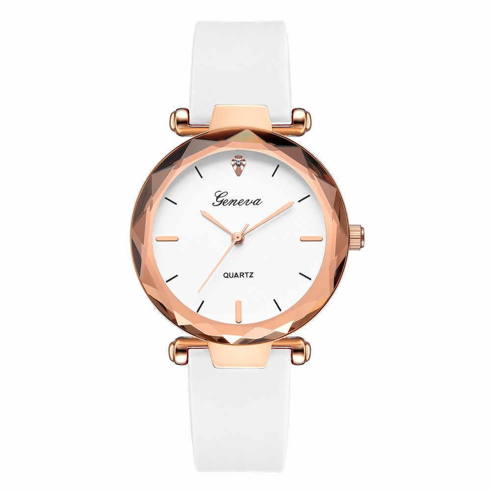 אופנה נשים שעונים גבירותיי שעונים ז 'נבה סיליקה להקת אנלוגי קוורץ שעון יד מתנה