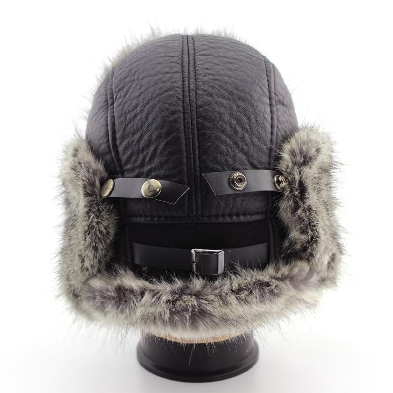 BFDADI Men Bomber Hats 2018 New Arrival Winter Waterproof Trapper Hat Men Bomber Faux Leather Ear Flap Hats Size 61cm
