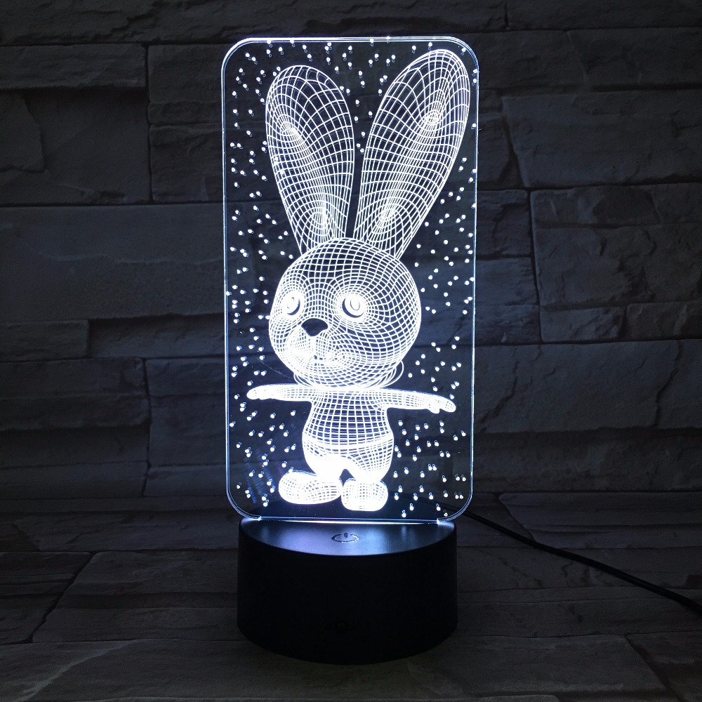 Rabbit Cute Bunny Baby Bedroom Lamps Night Light Cartoon Plastic Sleeping LED Kids 3D Lamp Bulb Nightlight with 7 Colors Change