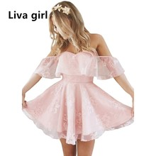 Oyee 2017 Summer Sundress Strapless Party Dress Vestidos Lace Ruffles Casual Sexy Off Shoulder Swing Puff Dresses Plus Size ZWX2