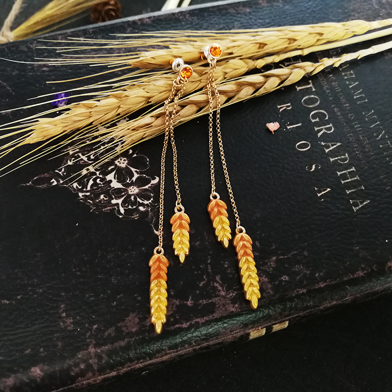 Vanssey Vintage Fashion Ear of Wheat Orange Enameled Austrian Rhinestone Long Tassel Earrings Accessories for Women 2018 New