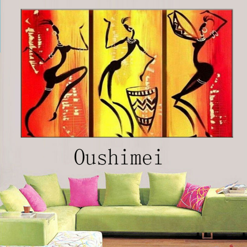 Modern oil painting on canvas beautiful girls fashion models wall ...
