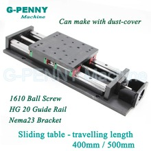 High Precision sliding table traveling length 400/500mm Chinese HG20 Linear Guide Rail linear motion Ball Screw 1610 for Z axis xyr axis 125mm manual trimming platform translation table and rotary table cross rail lsp125 l xyr125 125 125mm high precision