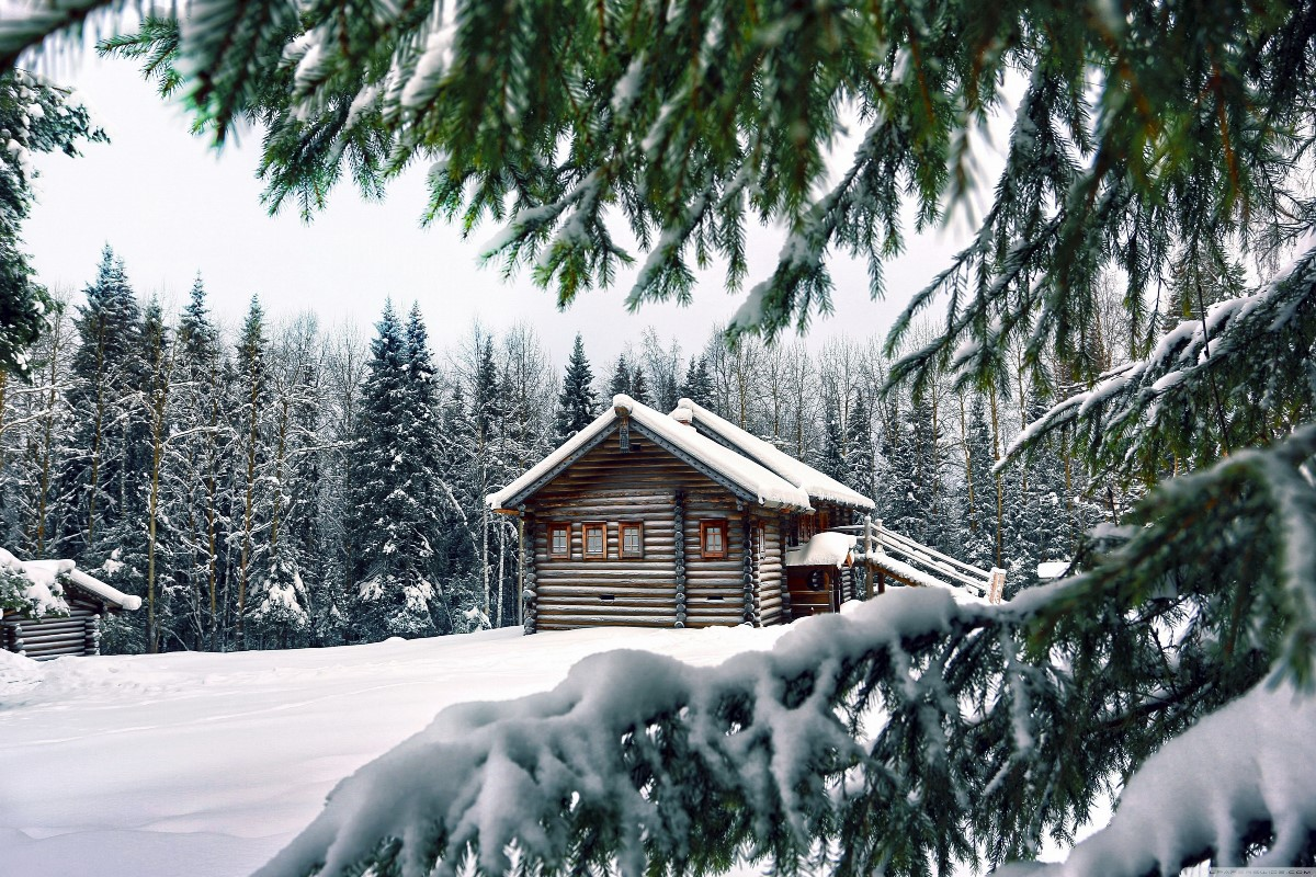 Mountain retreat winter wood cabin nature landscape snow for Winter cabin bedding