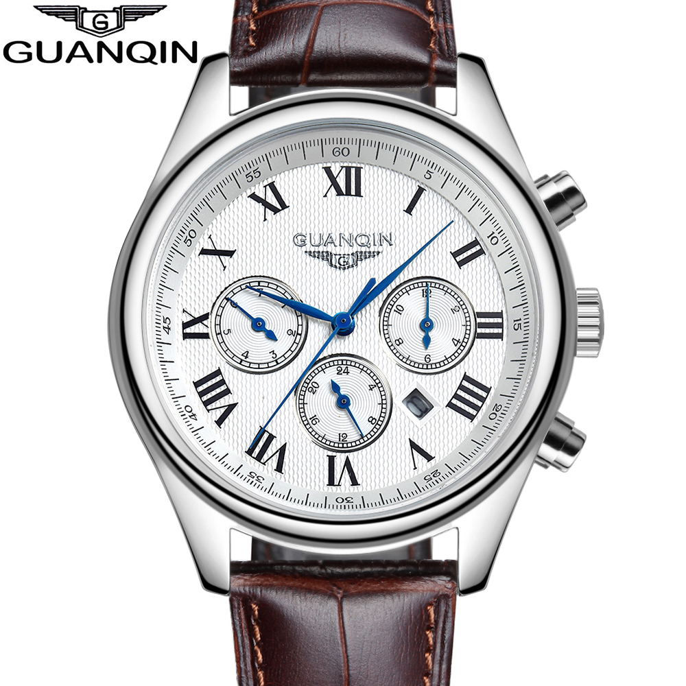 Original GUANQIN Men's Quartz Watches Men Top Brand Luxury Wristwatches Waterproof Classic Leather Strap Watch Hours Clock Male mateo дачи сет из двух тарелок