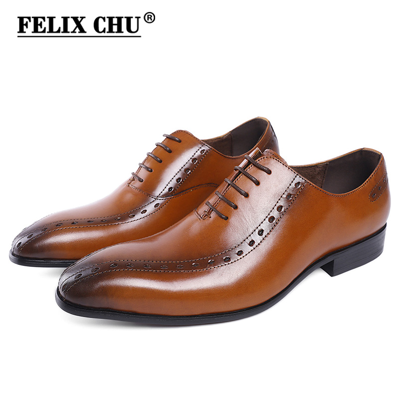 High Quality Cow Leather Brogue Shoes Men Pointed Toe Lace Up Casual Male Dress Shoes Business