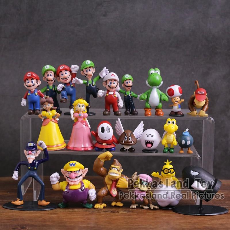 Super Mario Bros Mario Luigi Wario Waluigi Toad Bowser Yoshi Peach Daisy Goomba Koopa Mini PVC Figures Toys 22pcs/set 3~8cm