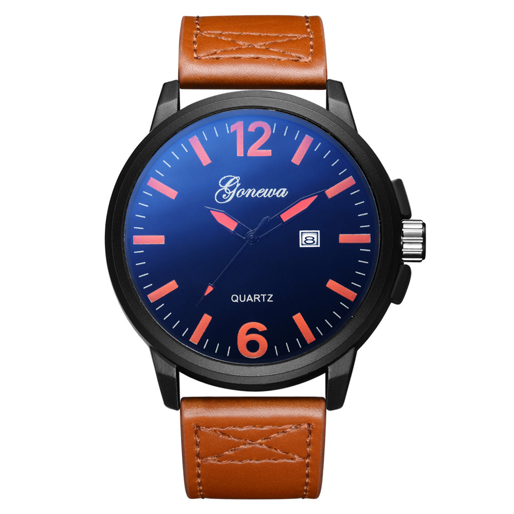 GONEWA Mens Quartz Wrist Watch Analog Date Day Army Sport Leather Luxury man high qulity Fashion watch #2012