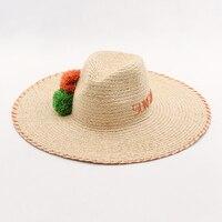 Muchique Вс Шляпы для Женщин Летний Пляж Шляпы Рафии Косу Вышивка Дискеты Соломенная Шляпа с Ручной Рафии Pom Pom