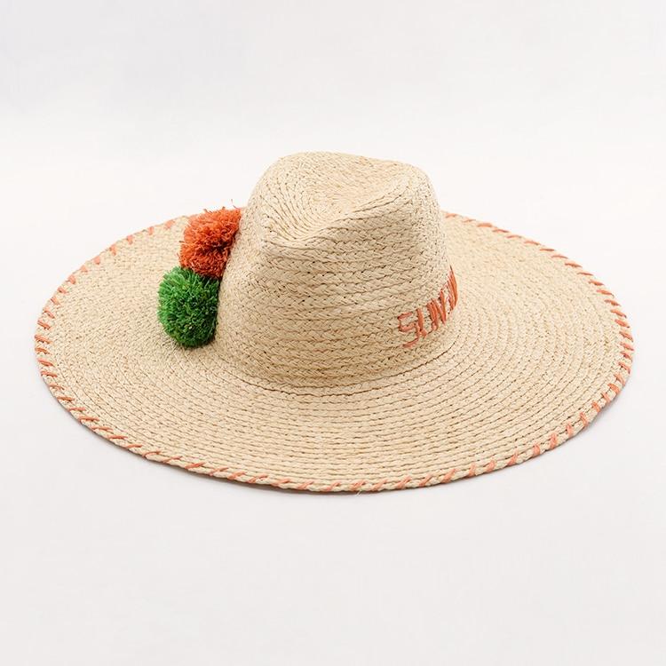 Muchique Sun Hats for Women Summer Beach Hats Raffia Braid Embroidery  Floppy Straw Hat with Handmade Raffia Pom Pom 84c996db35ff