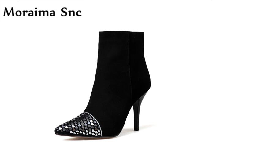 Moraima Snc 2018 hot sales women Ankle boots pointed metal toe bling high heel Rome type vintage velvet solid party pumps moraima snc chic women winter platform pointed toe mid calf boots solid black lace up fringe vintage suede high heel