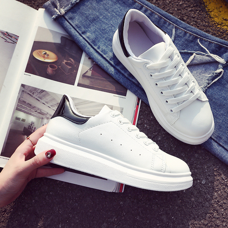 2018 Spring/Autumn solid white casual women shoes lace up high quality sneakers woman fashion elegant adults flats
