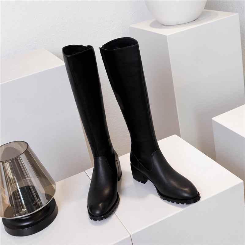 Krazing maceta nuevo streetwear zapatos de tacón de cuero genuino de invierno punta redonda Cierre de metal mantener caliente montar botas altas de muslo l33 - 4