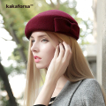Kakaforsa Women Wool Beret Hats Autumn Winter Ladies Cute Bowknot Berets British Style Female Solid Flat Caps