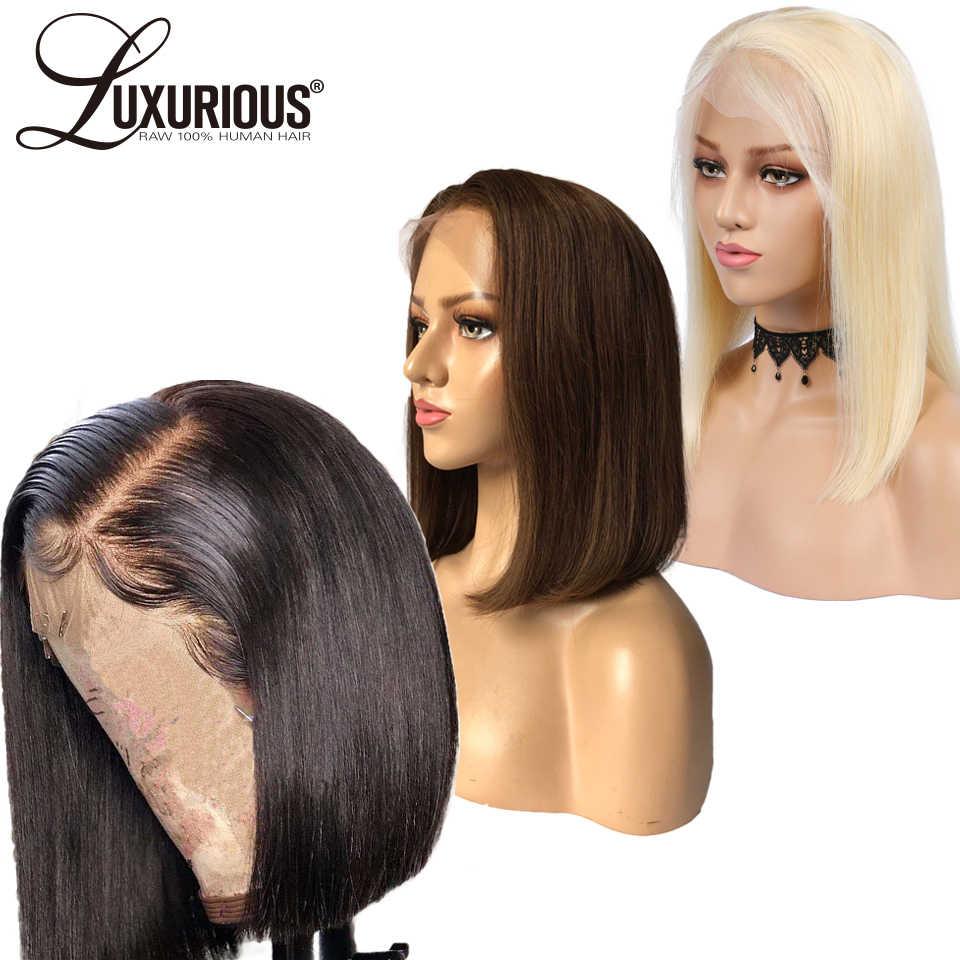 150% короткий Боб Стрижка парик предварительно вырезанные 13x6 Синтетические волосы на кружеве парики из натуральных волос для Для женщин прямые перуанские прямые волосы отбелен