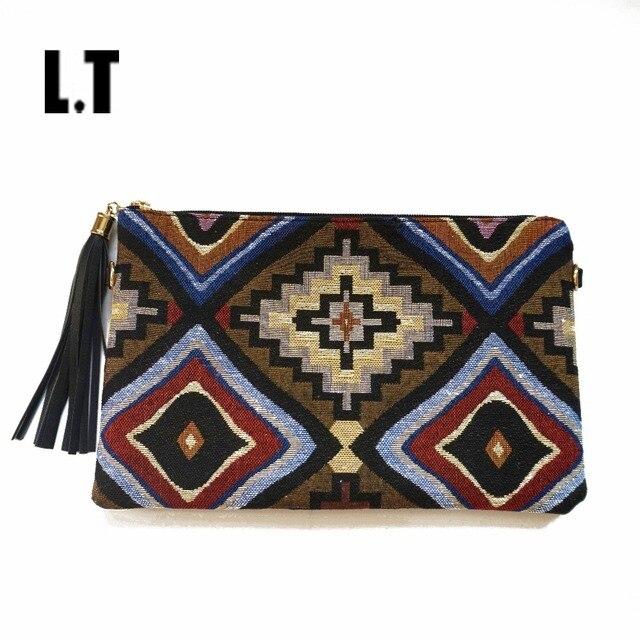2017 Female Vintage Clutch Gypsy Bohemian Boho Chic Hippie Aztec Tribal Indian Retro Folk Woven Fabric PU Leather Clutch Bags
