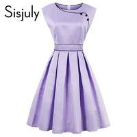 Sisjuly Vintage Dress 1950s Women Dress A Line Button Retro Party Dress Light Purle Vestidos Elegant