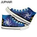 Jup 18 estilos harajuku fluorescente luminosa galaxy para hombres hombres zapatos del estudiante exo mismo párrafo de lona pintados a mano zapatos de los muchachos