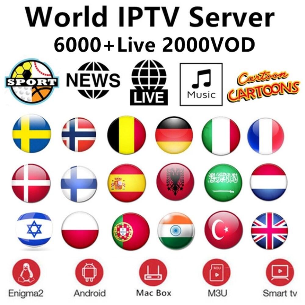 1Year Europe IPTV Subscription Rocksat Nordic France UK German Arabic Dutch Sweden French Poland Portugal Smart TV IPTV 6000Live
