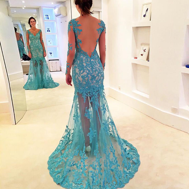 Popular Turquoise Long Prom Dress-Buy Cheap Turquoise Long Prom ...