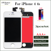 Mobymax 3PCS All Test AAA No Dead Pixel LCD Display For IPhone 4 4s Touch Screen