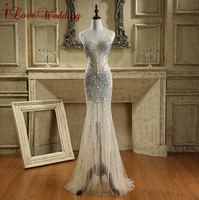 2016 New Arrival Long Elegant Prom Dresses With Rhinestones Sequins Luxury Formal Evening Gowns Red Carpet
