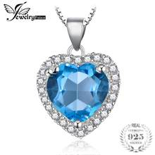 JewelryPalace Natural Blue Topaz 925 Sterling Silver Heart Pendant Necklace Jewelry Fine Jewelry for Women Without Chain(China)
