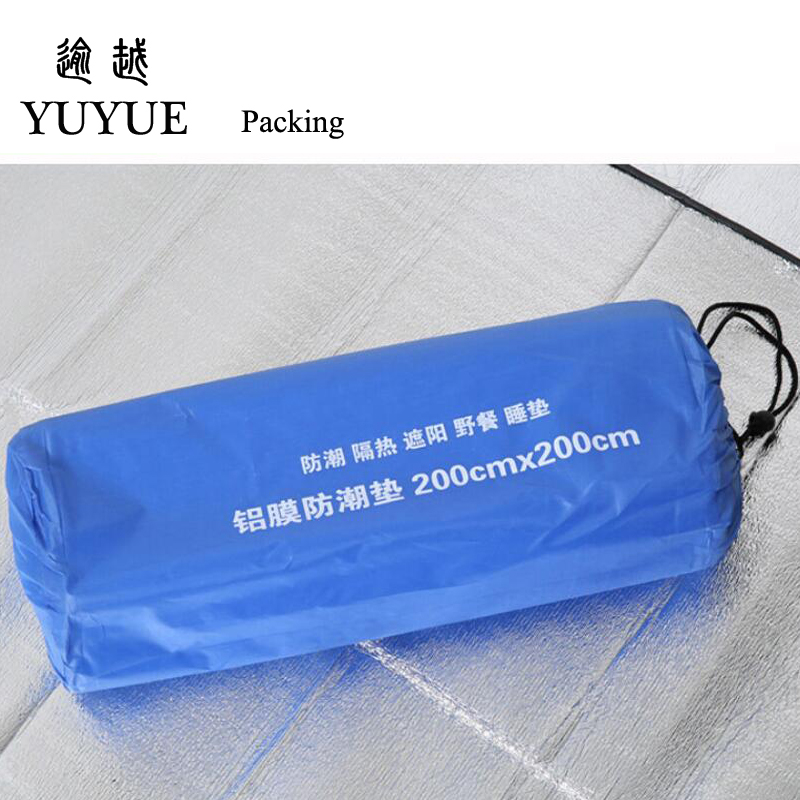 200*200cm Double-sided Aluminum Film Moistureproof Mat Tavel Mat For Tourist Camping Tent Beach Blanket Mat Camping Equipment  4
