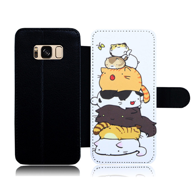 buy popular 6773b b7def US $9.58 |Premium Protective Cove for Samsung Galaxy S6 Edge Cute Animal  Cat Leather Flip Wallet Case with Card Slots for Samsung S8 S7 S5-in Flip  ...