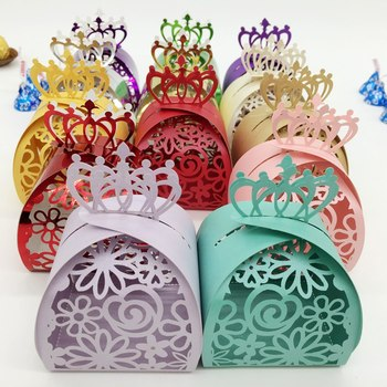 candy box bag chocolate paper gift box crown flower lace for Birthday Wedding Party Decoration craft DIY favor baby shower Wh image